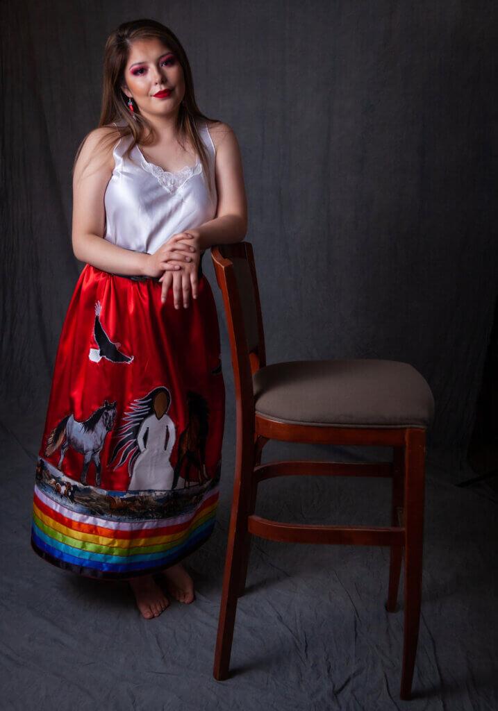 Faye Thomas from Saskatoon, SK designs ribbon skirts