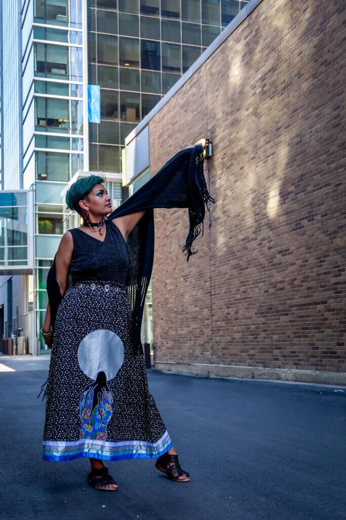 Faye Thomas is a ribbon skirt designer from Saskatoon, SK