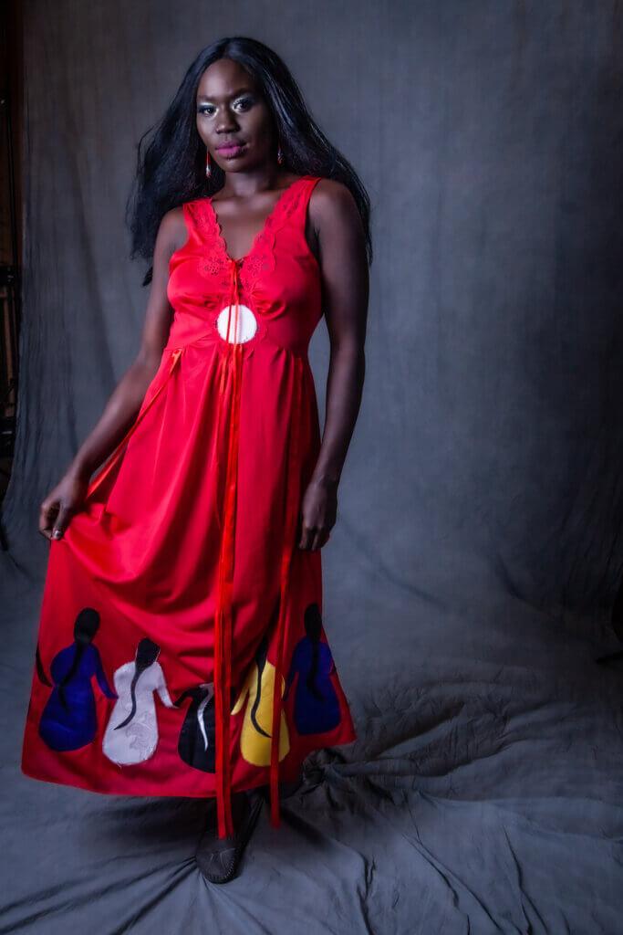 Faye Thomas from Saskatoon designs ribbon skirts