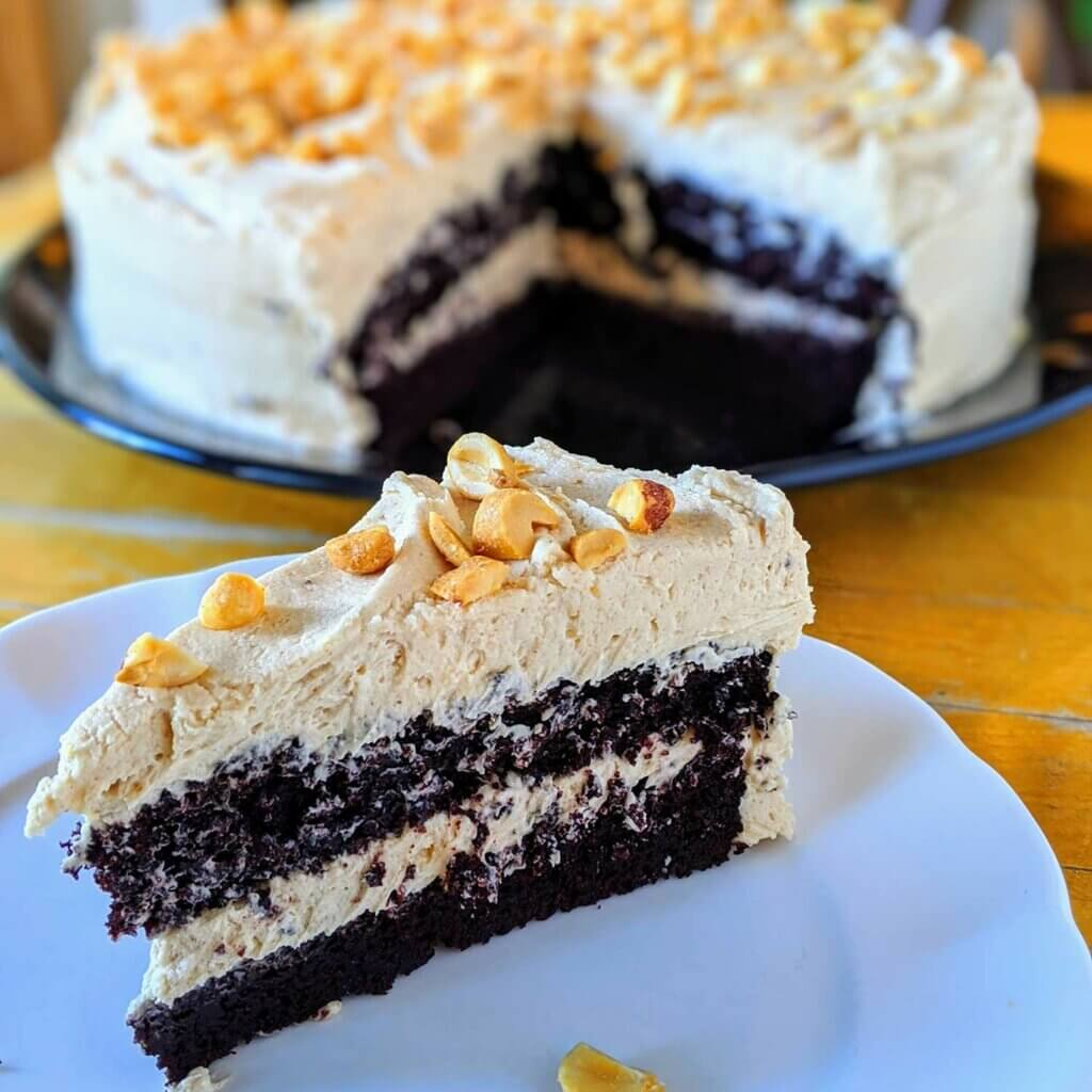 Liz's Hot Water Chocolate Cake with Peanut Butter Frosting