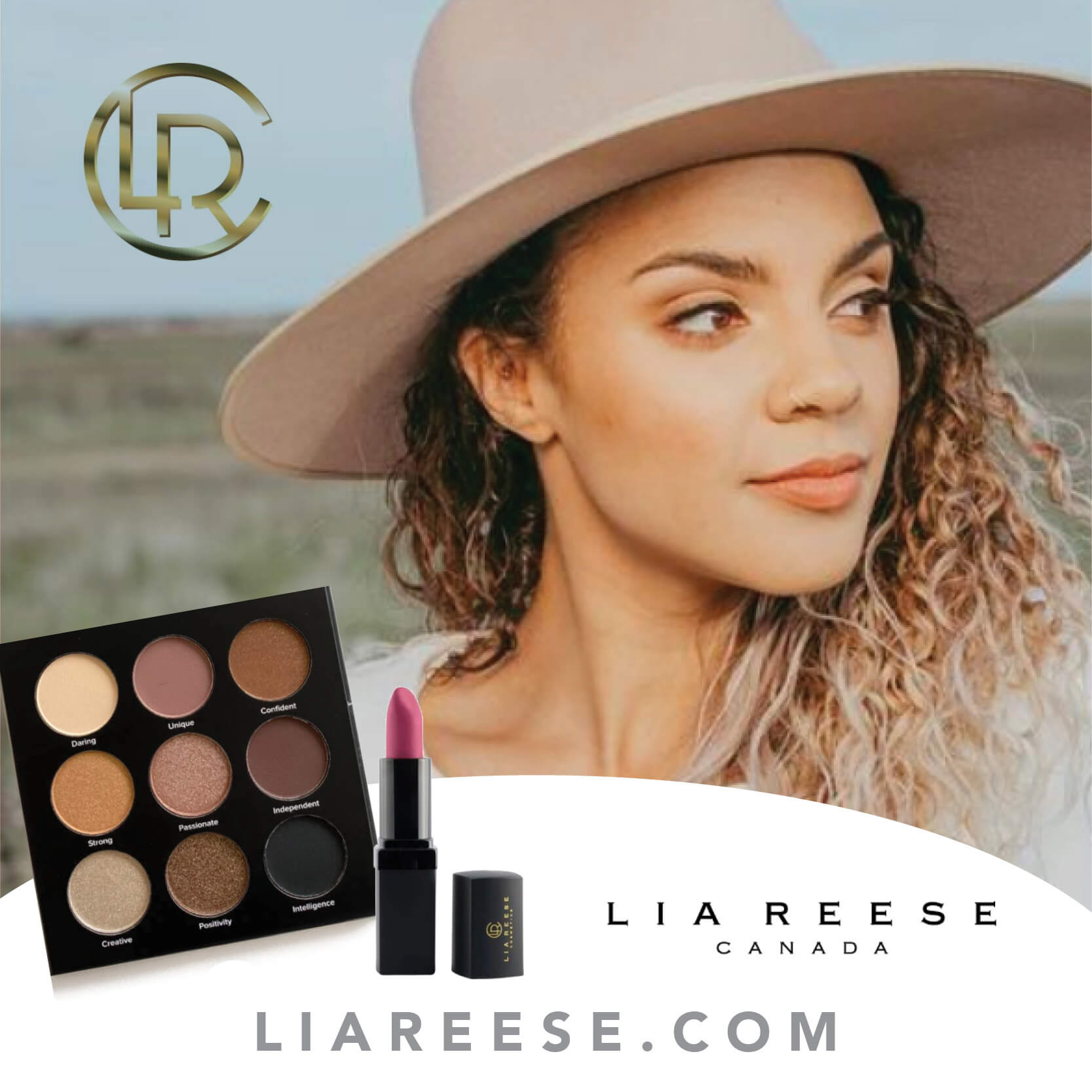 Closeup of a young woman modelling Lia Reese makeup