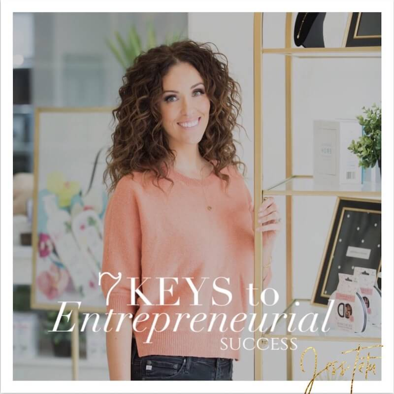 "Jess Tetu standing, smiling & looking at the camera, with the words ""7 keys to entrepreneurial sucess"" at the bottom"