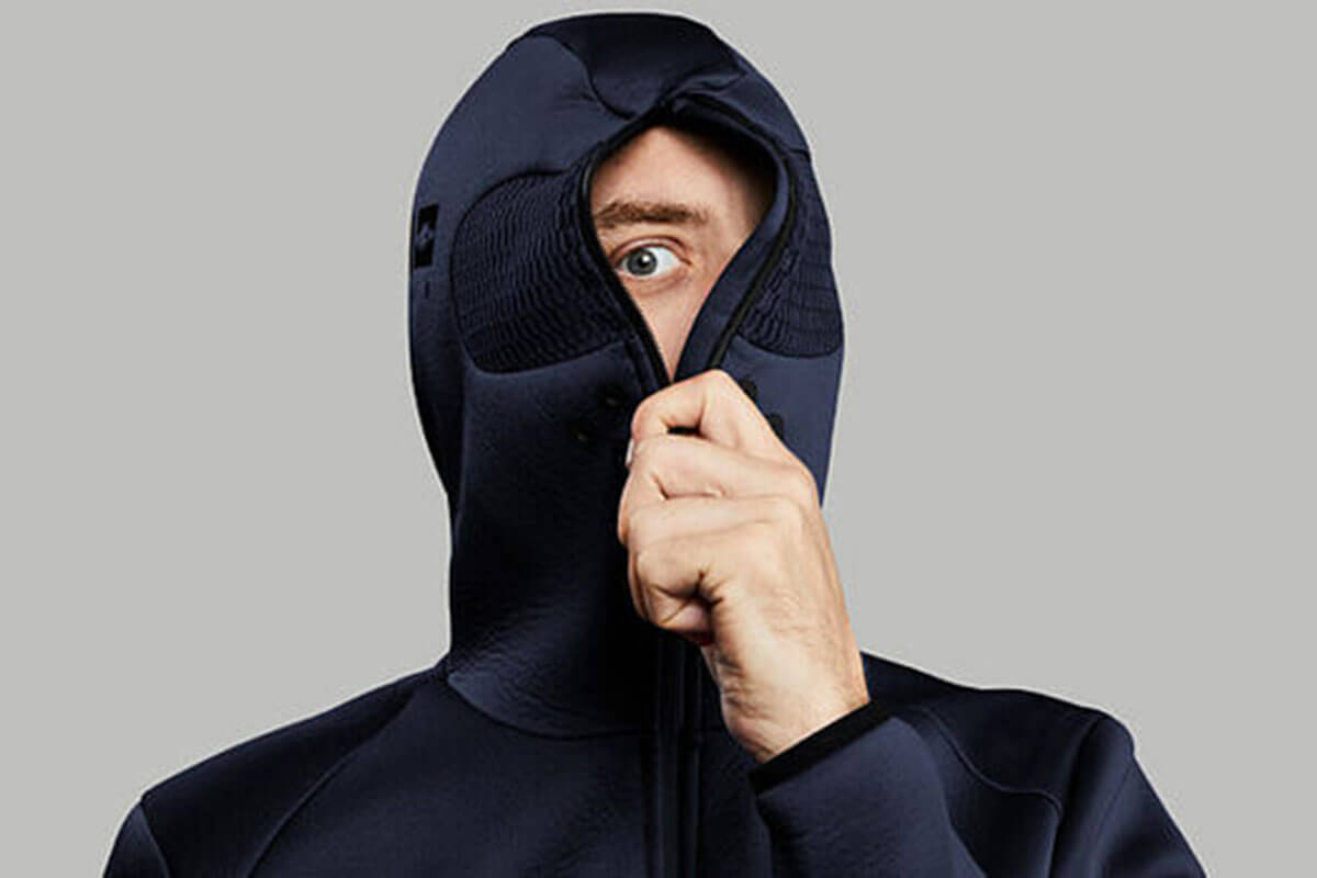 The Self-isolation Hoodie by Volleba is 2021 trend, and zips up to completely close the hood.