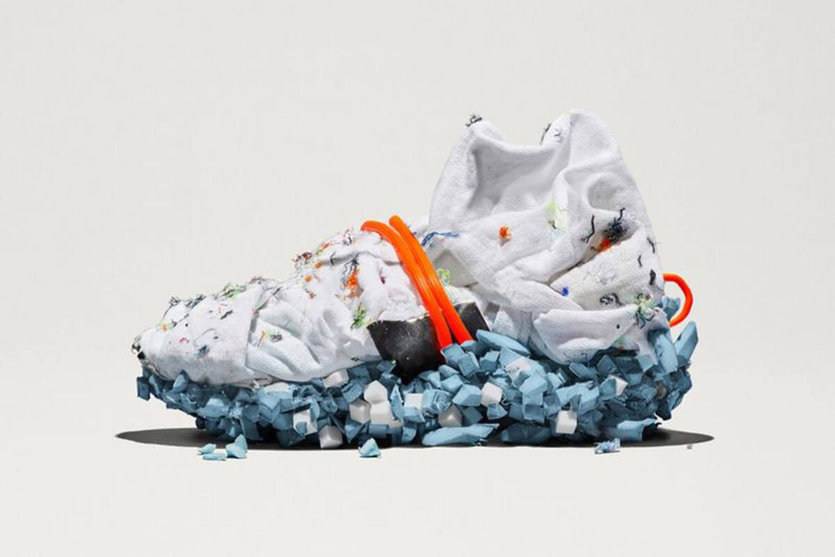 Nike Space Hippy Recycled Sneaker is a Toast forecasted 2021 trend, and  has a futuristic look with white top, blue heel and orange ties.