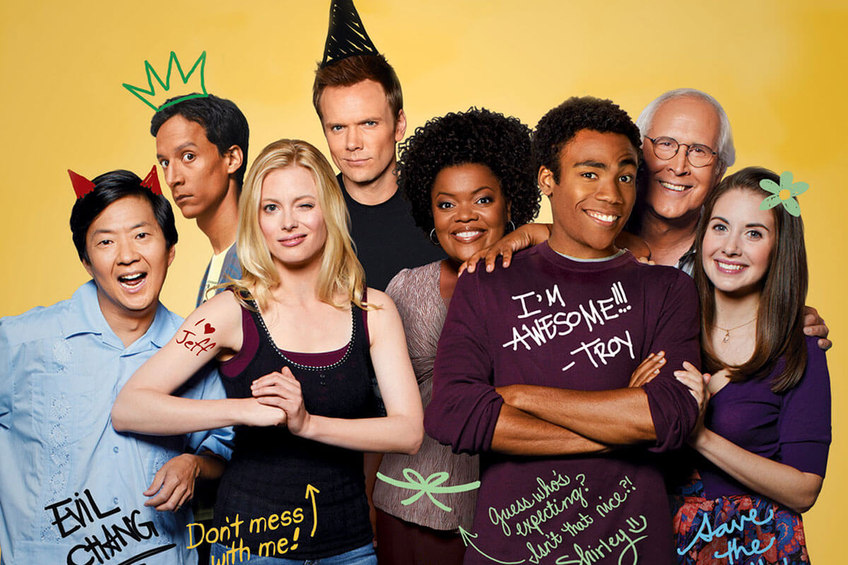 Toast's must-watch TV & movie classics includes the TV series Community, and the cast is pictured here