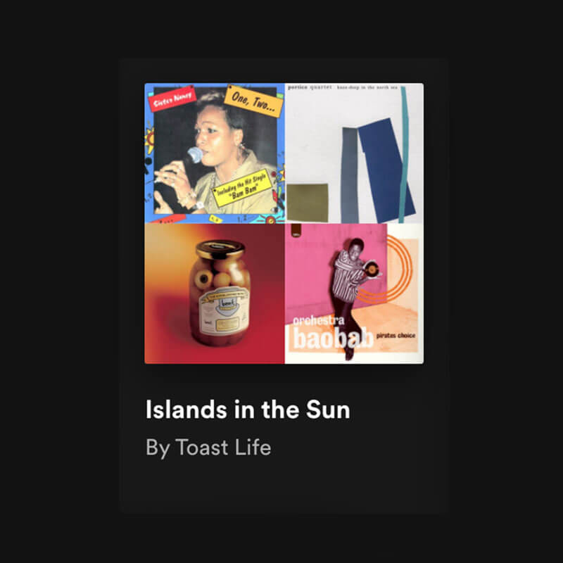 Toasty Tunes presents Islands in the Sun collection, and four artist covers are shown here