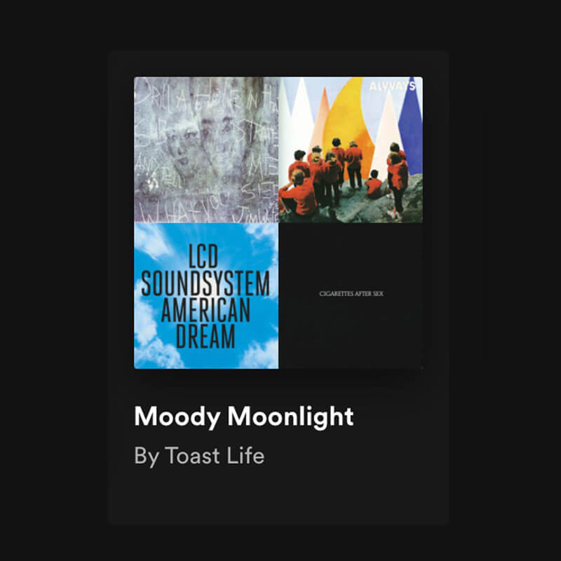 Moody Moonlights by Toast Life is one of the playlists for every mood