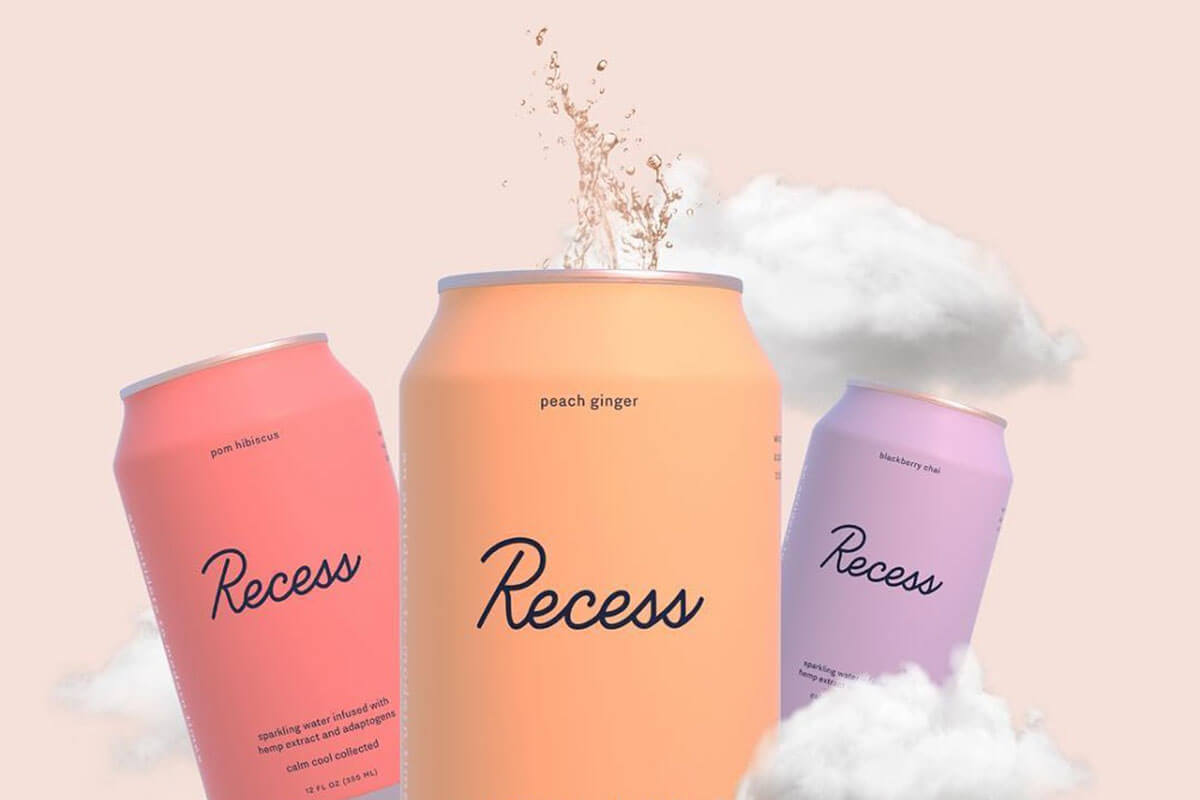 Three cans of Recess' all-natural canned drinks are past of Toast food trend forecasts