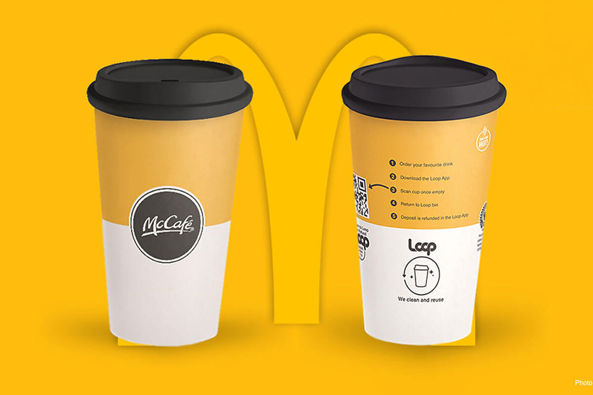 Toast food trend forecasts for 2021 features gold and white McDonald's + Loop Reusable Cups