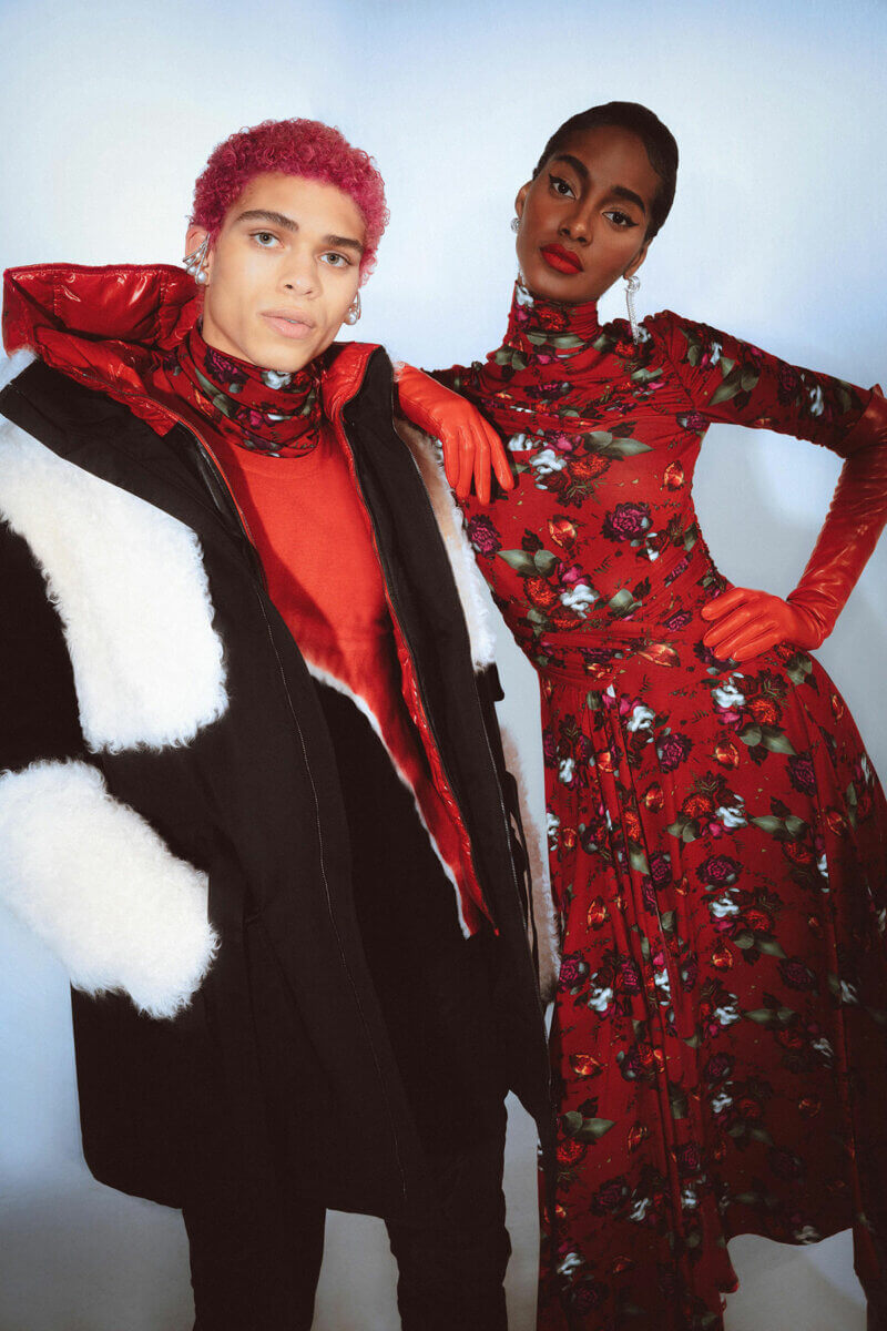 Two models in red, black and white pre-fall 2021 fashion collections, Prabal Gurung Fall21 RTW