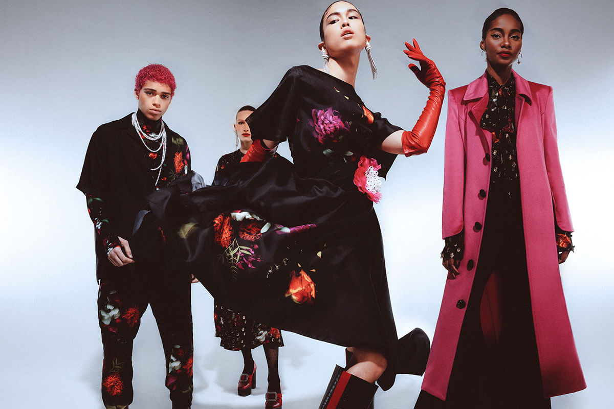 four models in blacj and pink, part of the 2021 fashion collections