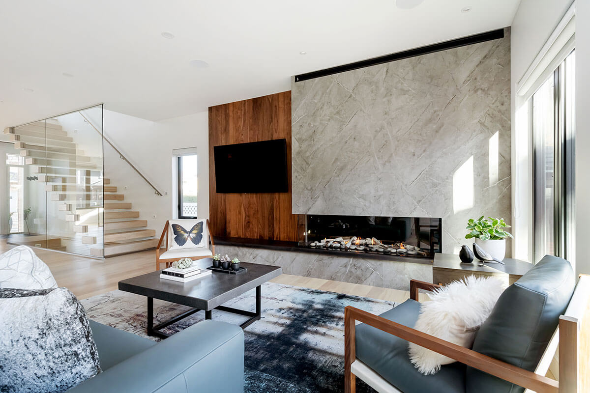 a living toom wtih fireplace and natural elements, part of the 2021 home renovation trends