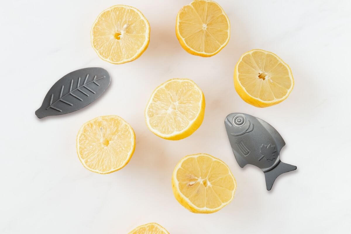 six sliced lemons arranged with a Lucky Iron Fish®, a tool to boost your iron intake