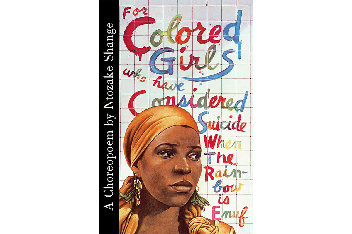 A coloured woman on the book cover of For Coloured Girls Who Have Considered Suicide, celebrating Black History Month