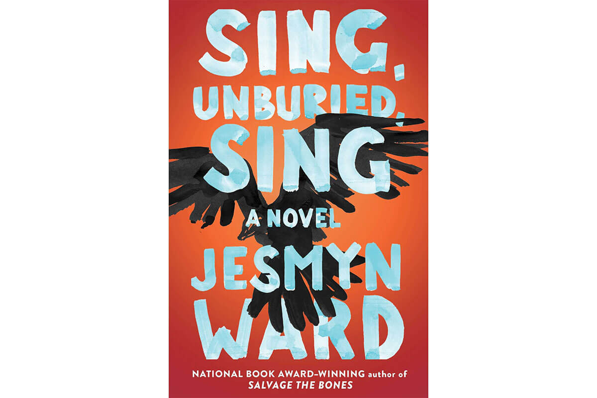Book cover for Sing, Unburied, Sing, orange with a crow flying