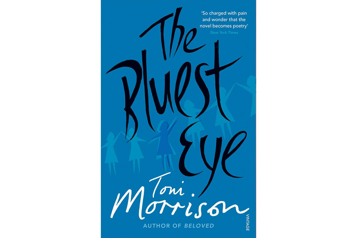 Blue and black book cover for The Bluest Eye, celebrating Black History Month