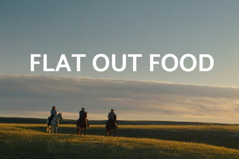 3 horseback riders on the open Saskatchewan prairie at sunset, cover for the Flat Out Food docuseries