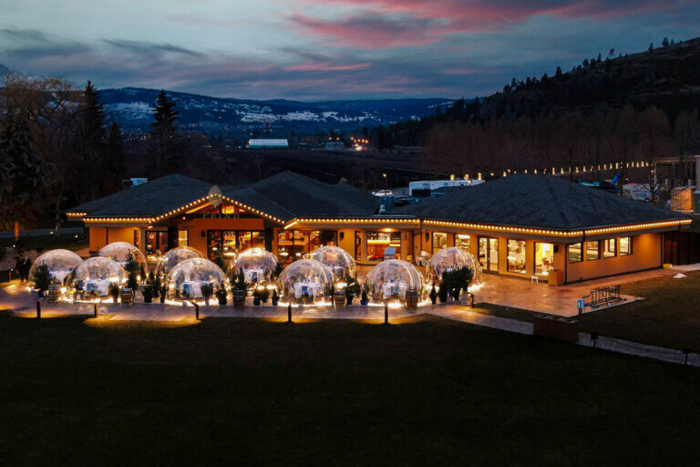 Outdoor COVID bubbles at Frind Winery at night, part of the food & wine in Kelowna