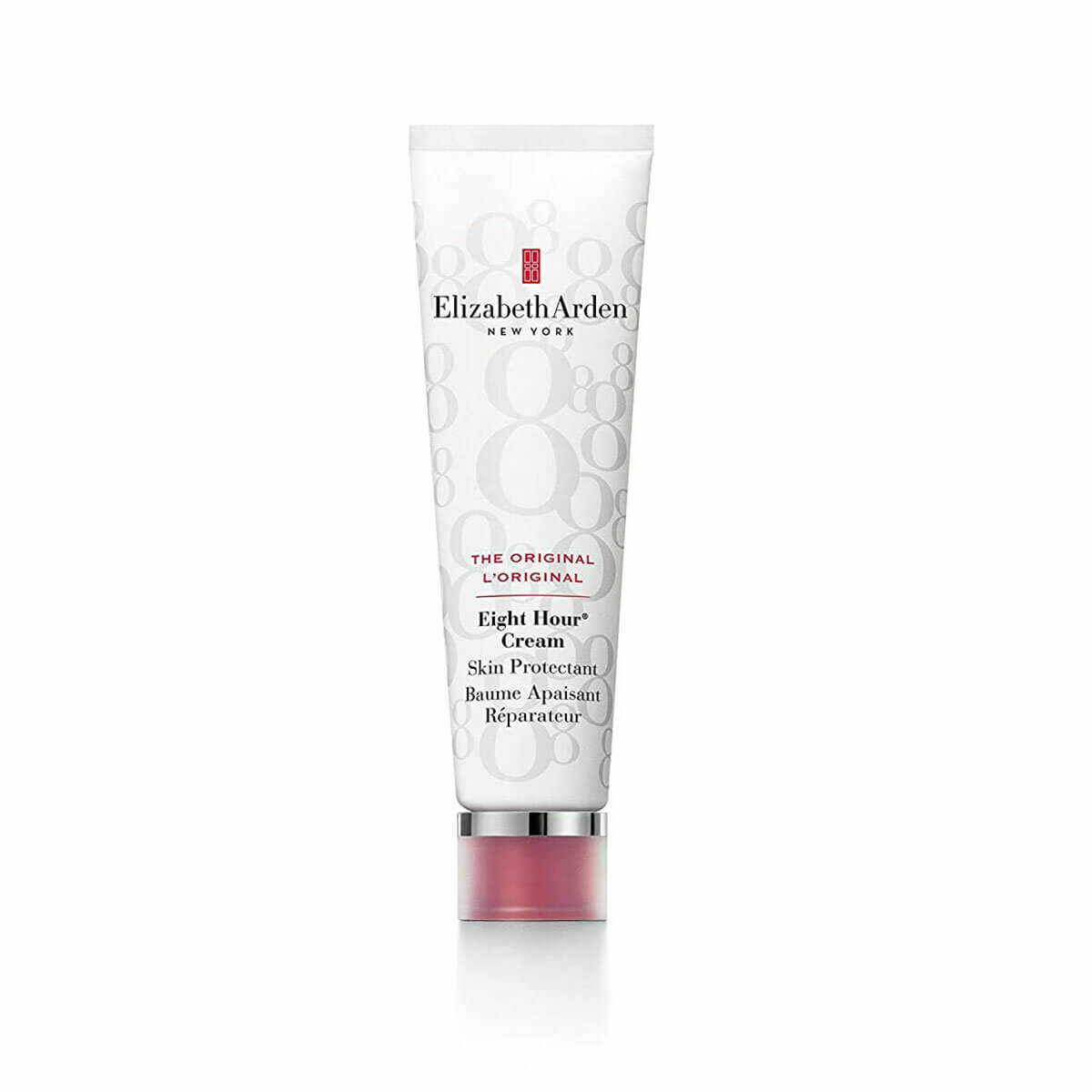 A white and red tube of one of Holly Decker's favourite hydrating skin products, Elizabeth Arden Eight Hour Cream