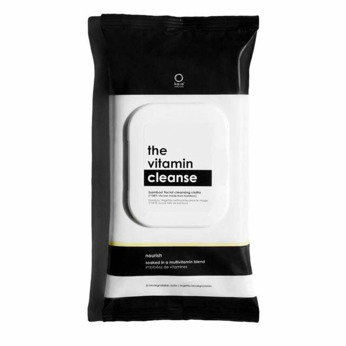 Black & white package of The Vitamin Cleanse bamboo facial wipes by Canadian company Kaia Naturals, popular among hydrating skin products