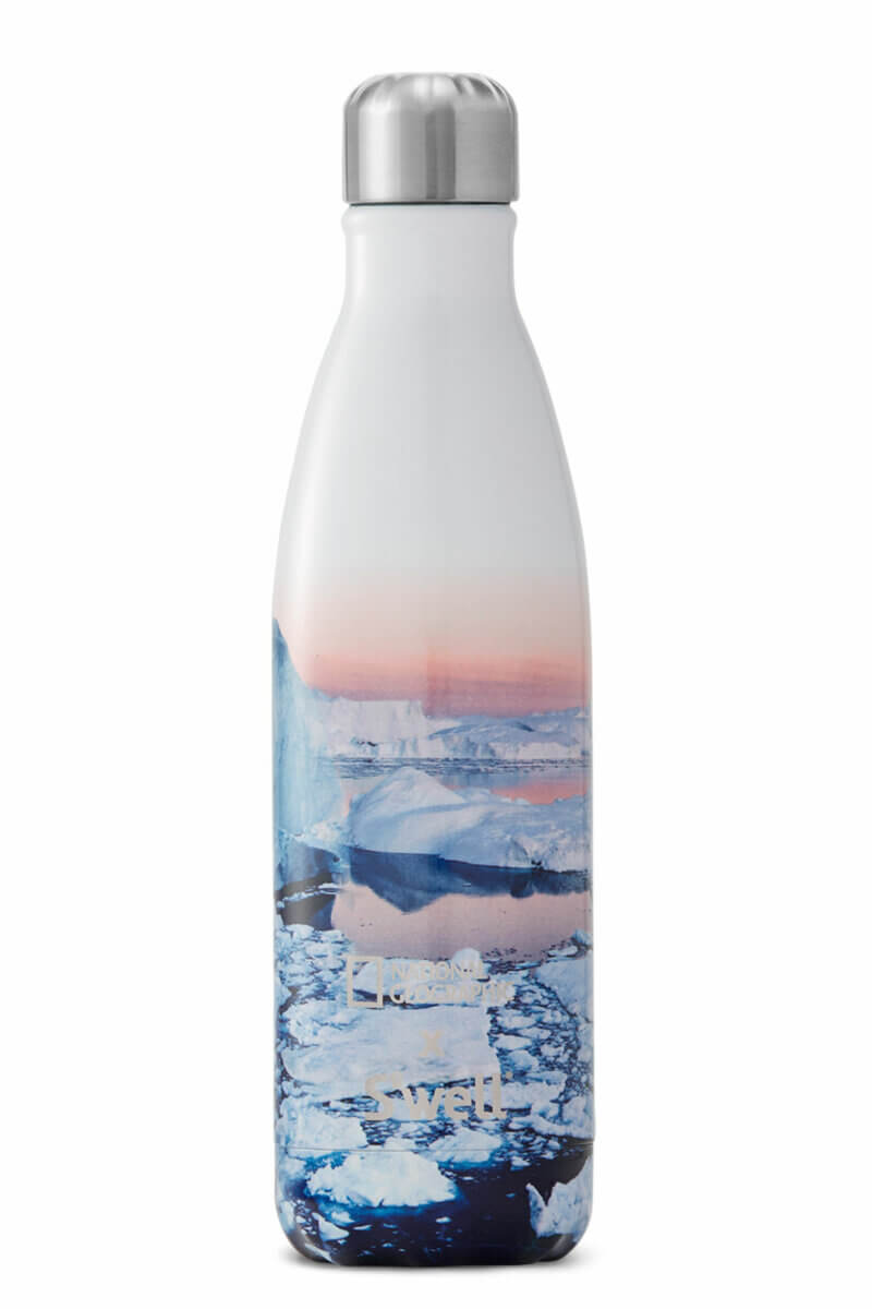 Multicoloured National Geographic S'well water bottle to increase your hydration