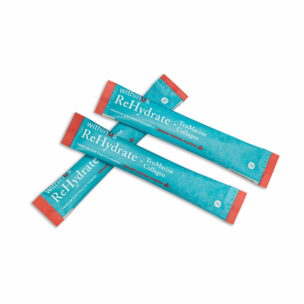 3 teal & orange packs of withinUs ReHydrate + Collagen powder, one of Holly Decker's favourite hydrating skin products