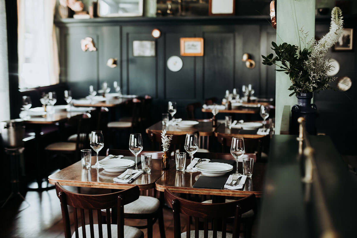 The dining room at St. Lawrence, one place for fine dining in Gastown, Vancouver