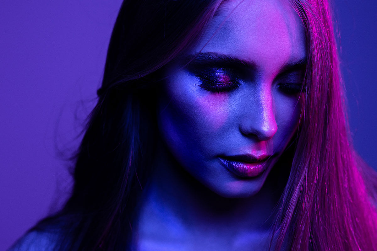 Magenta and blue were the first colours used in these coloured light mixing portraits of a model