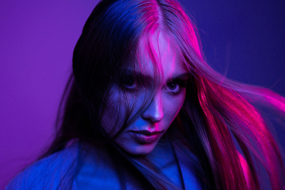 Magenta and blue were used in these coloured light mixing portraits of a model