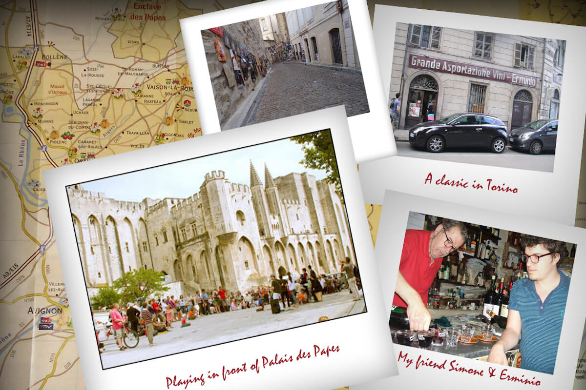 A collage of photos from Italy while touring and enjoying Italian & French wines