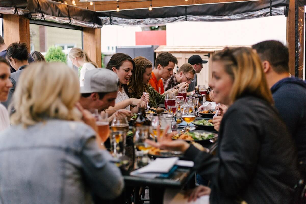 A group of people dining safely in Nova Scotia restaurants
