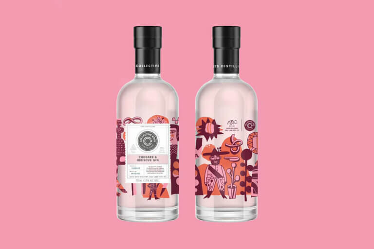 2 bottles of rhubard and hibiscus gin on a pink background, 1 of 4 toronto craft gins