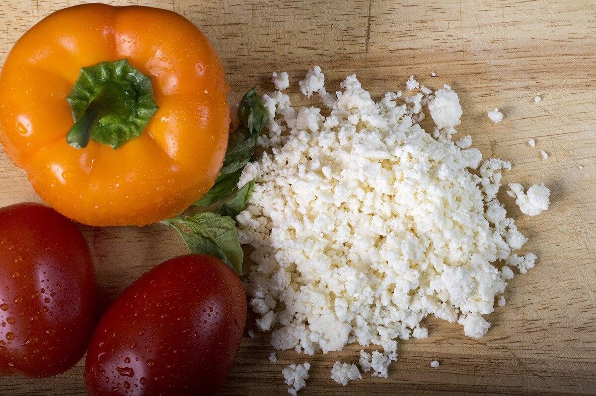 orange pepper, tomatoes, feta cheese for baked feta pasta recipe