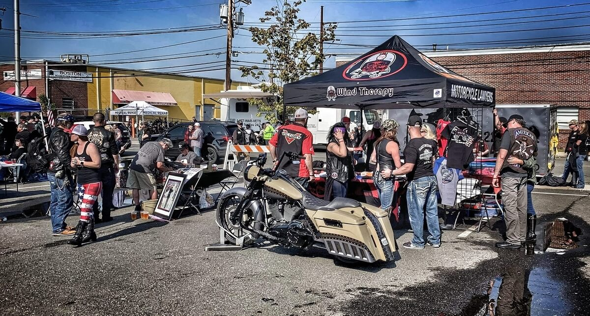 motorcyclists at outdoor event,  Wind Therapy event, that helps 22Kill combat suicide