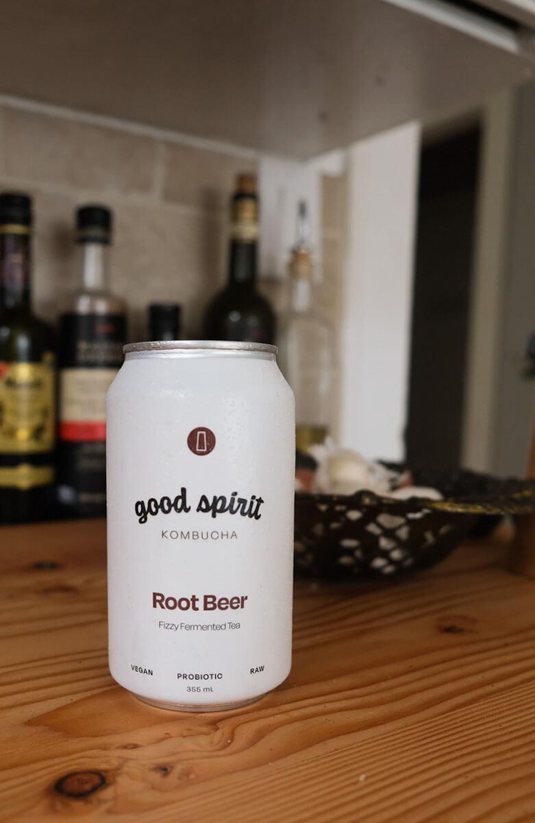 a can of Good Spirit Kombucha, a treat during April in Regina