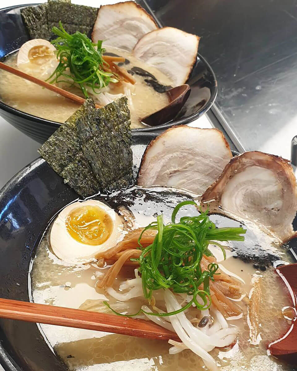 A Japanese meal with ramen, takeout during April in Regina