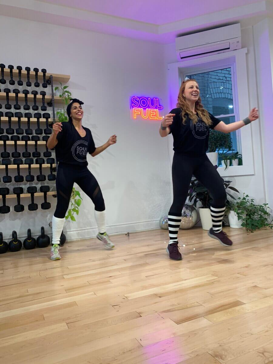 2 women in a free fridays at soul fuel fitness workout session