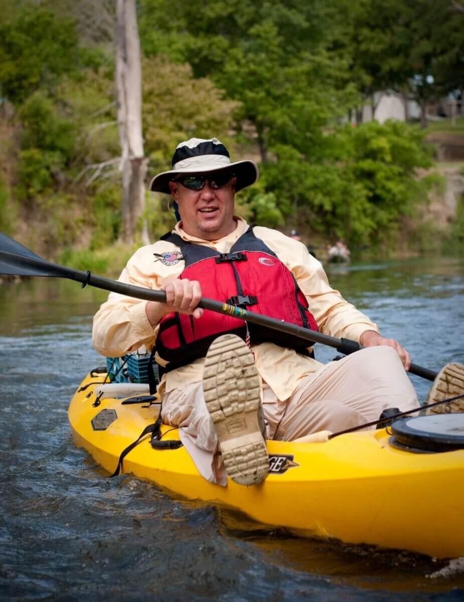 fisherman in kayak, Jim Dolan, founder of Heroes on the Water