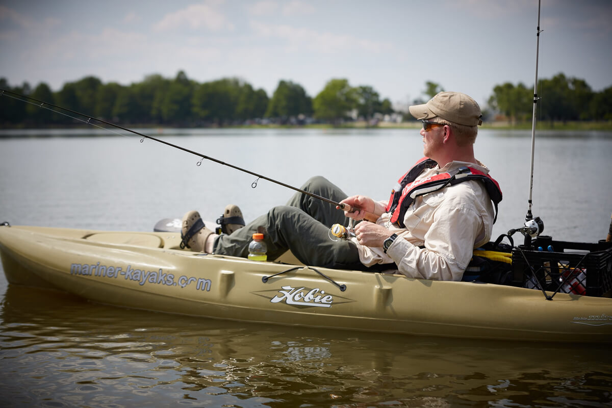 man fishing in a kayak as part of Heroes on the Water