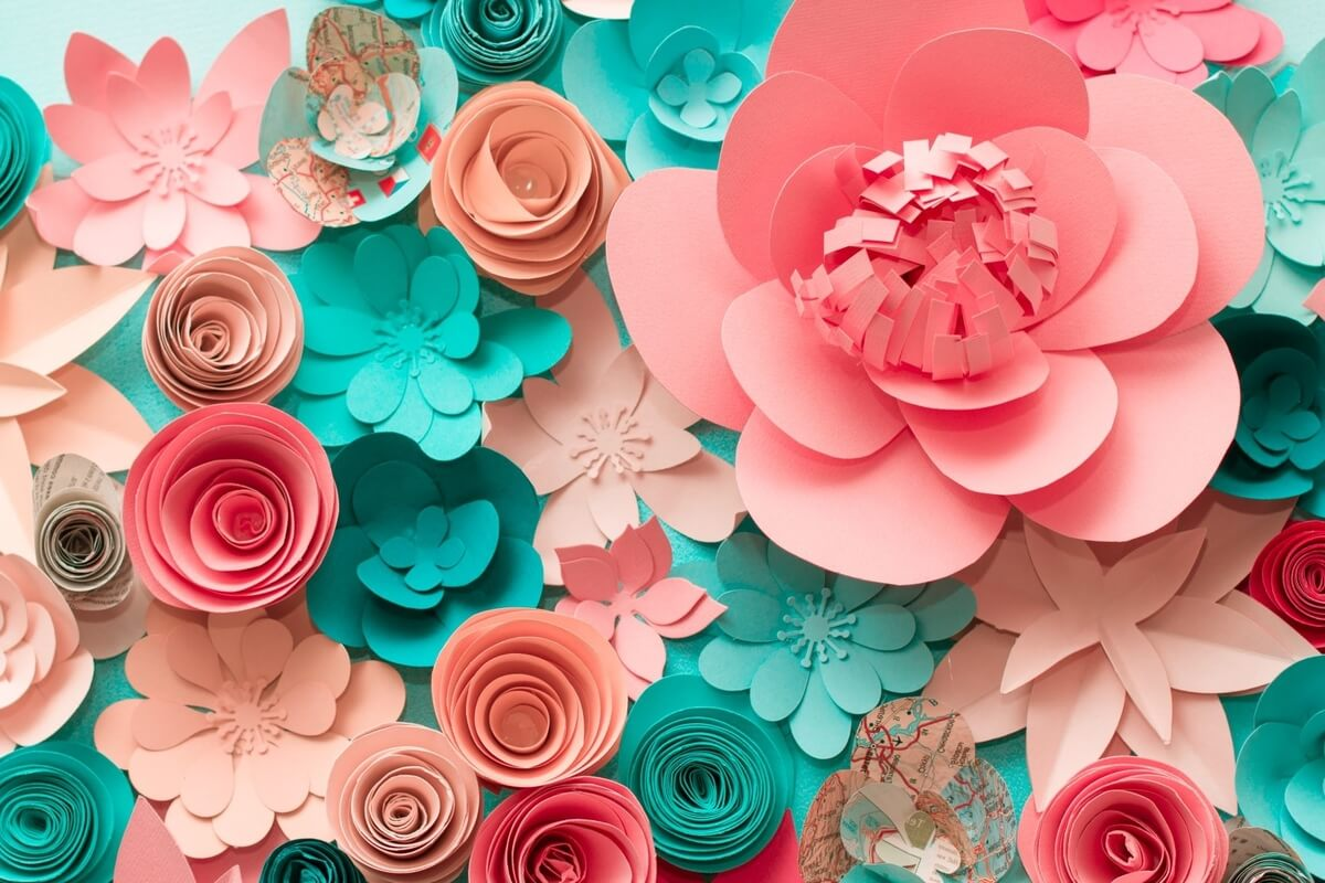 teal and pink paper flowers, mothers day paper garden art workshop buffalo toast