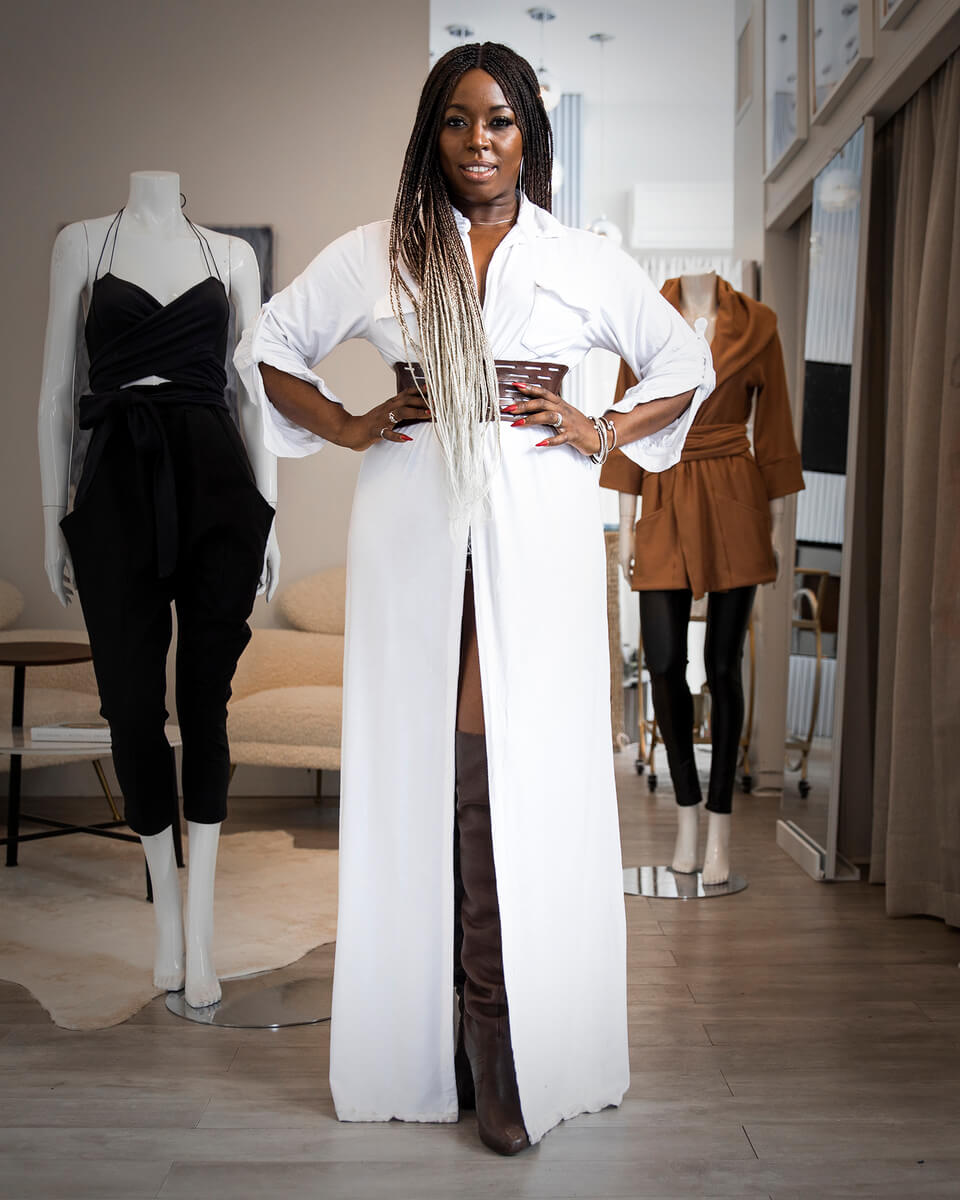 stacey and 2 mannequins in brown, white and black outfits from Stacey Martin Lifestyle Designs