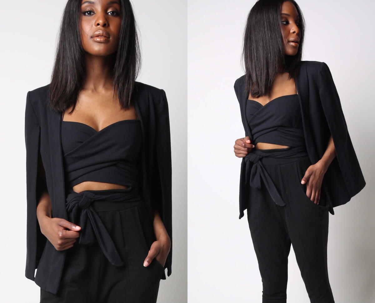 a model in a 3 piece black outfit from Stacey Martin Lifestyle Designs