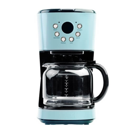 A teal & black drip coffee machine, the perfect coffee maker