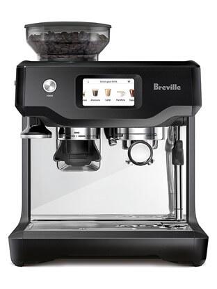 A silver & black Breville coffee machine