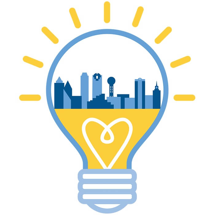 lightbulb with city buildings inside, logo of the pitch presented by AT&T