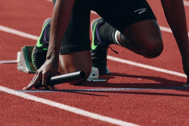 sprinter in the blocks & sports nutrition