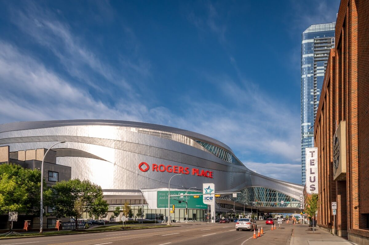 Outiside of Rogers Place, home of Edmonton Oilers and athletes who gave back