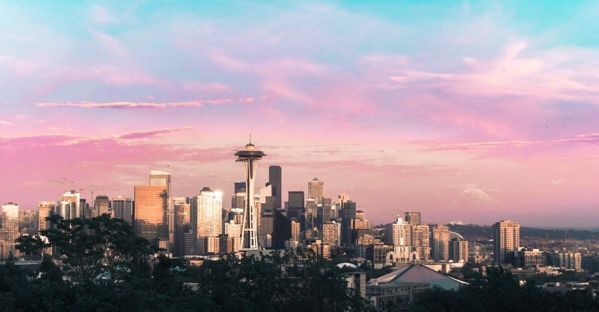 A sunset photo of Seattle, Washington