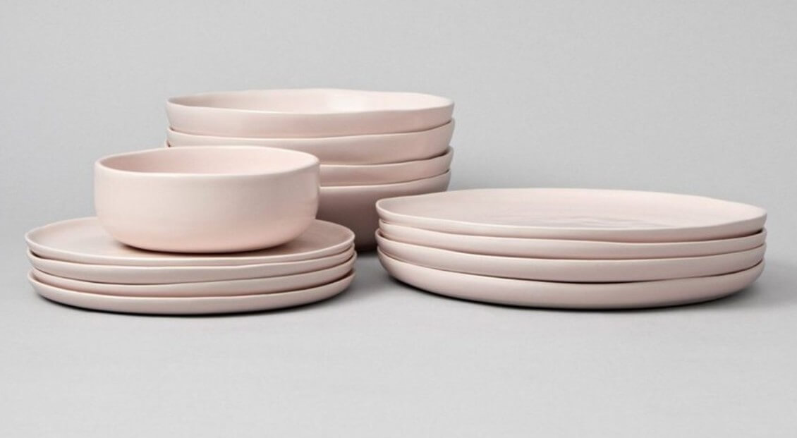 light pink ceramic dinnerware set with plates and bowls