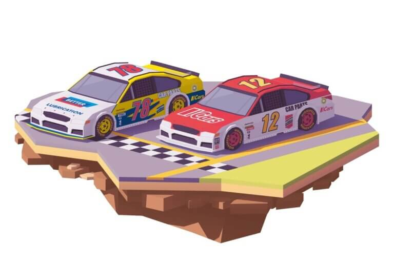 2 animated nascar cars, nascar at cota